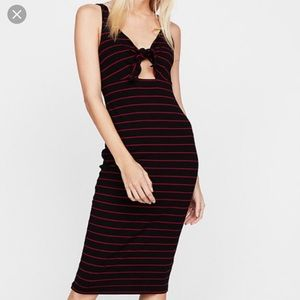 EXPRESS Striped Tie Front Ribbed Midi Dress